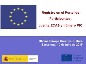 Presentació  Registre en el Portal de Participants - #EuropeCalls Cultura - Taller de projectes de cooperació europea