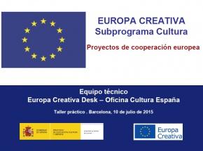 Presentació eForm i documents annexos - #EuropeCalls Cultura - Taller de projectes de cooperació europea
